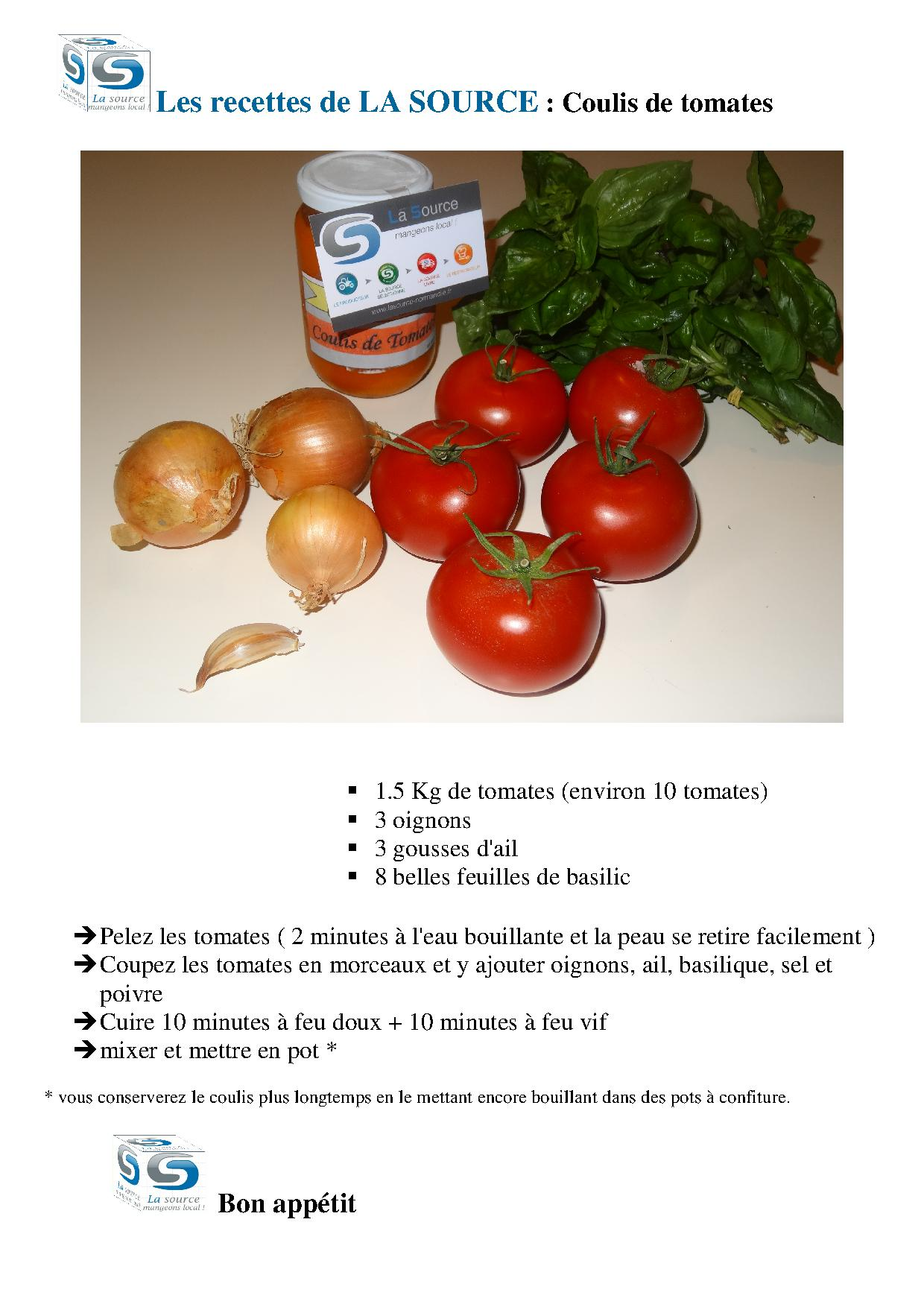 LA SOURCE coulis de tomates